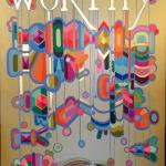 "Worthy Detail 2016 acrylic, acrylic gouache, and gold leaf on hollow core door 6'8""x3'"